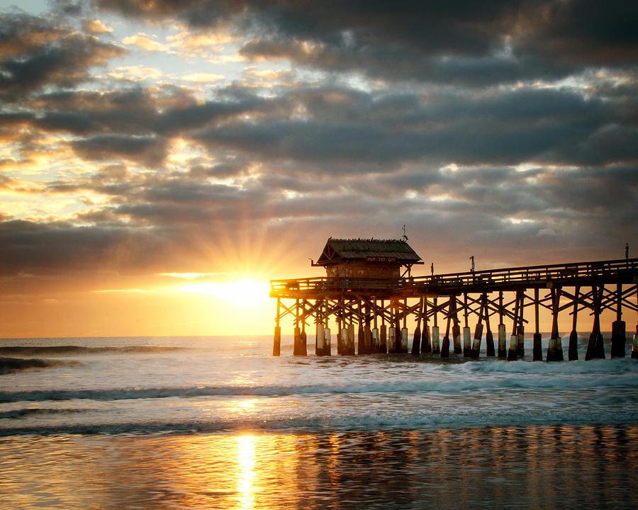 Sunrise Photograph - Sunrise At The Cocoa Beach Pier by Vicki Jauron