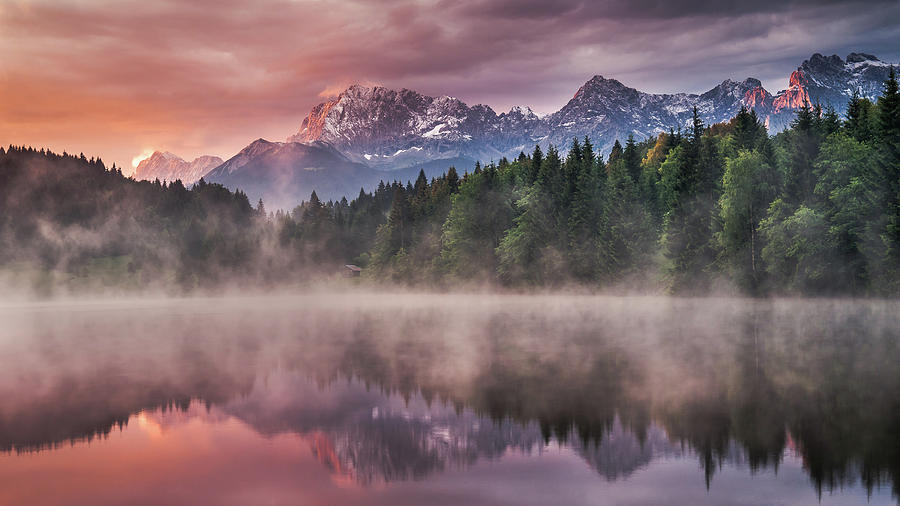 Alps Photograph - Sunrise At The Lake by Andreas Wonisch