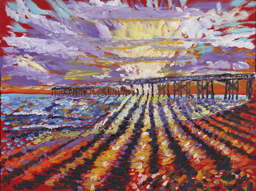 Beach Sunrise Painting - Sunrise At The Pier by Preston Sandlin