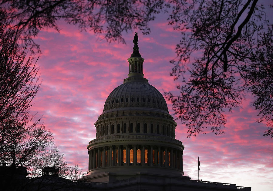 Sunrise At The U.s. Capitol Photograph by Mark Wilson