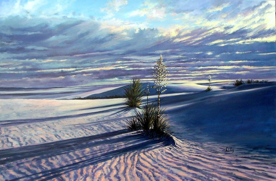 Desert Painting - Sunrise at Whitesands by Lily Adamczyk