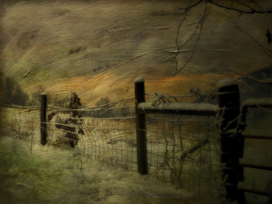 Winter Photograph - Sunrise Behind The Fence by Kathy Jennings