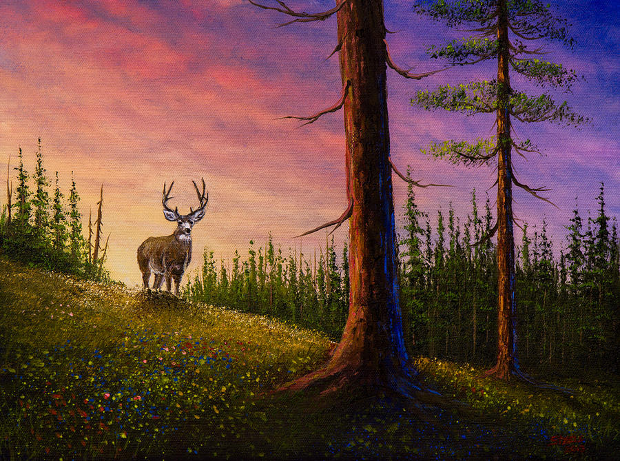 Landscape Painting - Sunrise Buck by C Steele