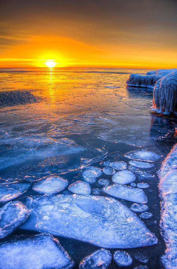 Lake Michigan Photograph - Sunrise Chicago Lake Michigan 1-30-14 02 by Michael  Bennett