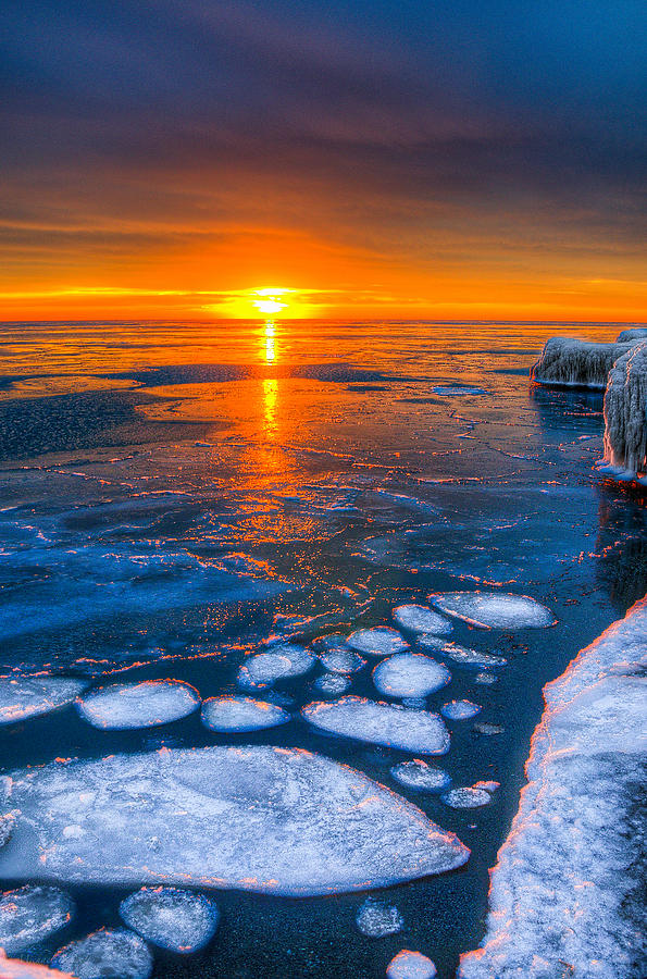 Lake Michigan Photograph - Sunrise Chicago Lake Michigan 1-30-14 04 by Michael  Bennett