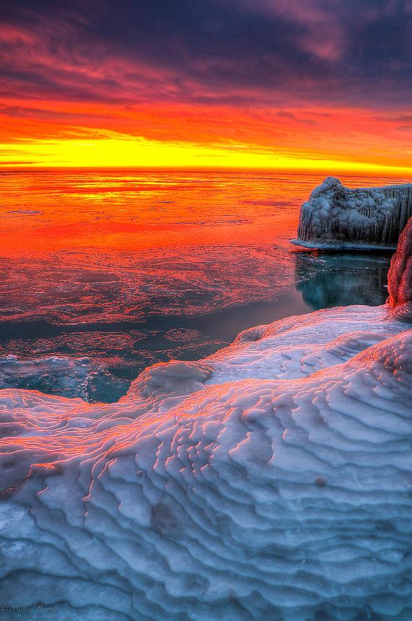 Lake Michigan Photograph - Sunrise Chicago Lake Michigan 1-30-14 by Michael  Bennett