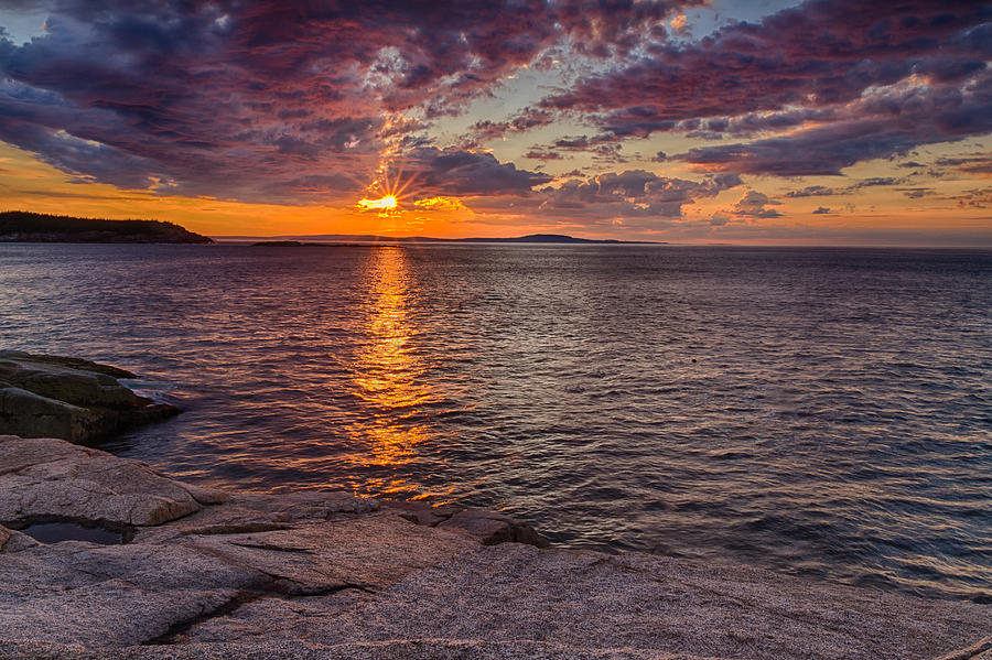 Acadia Photograph - Sunrise Drama Acadia National Park by Jeff Sinon