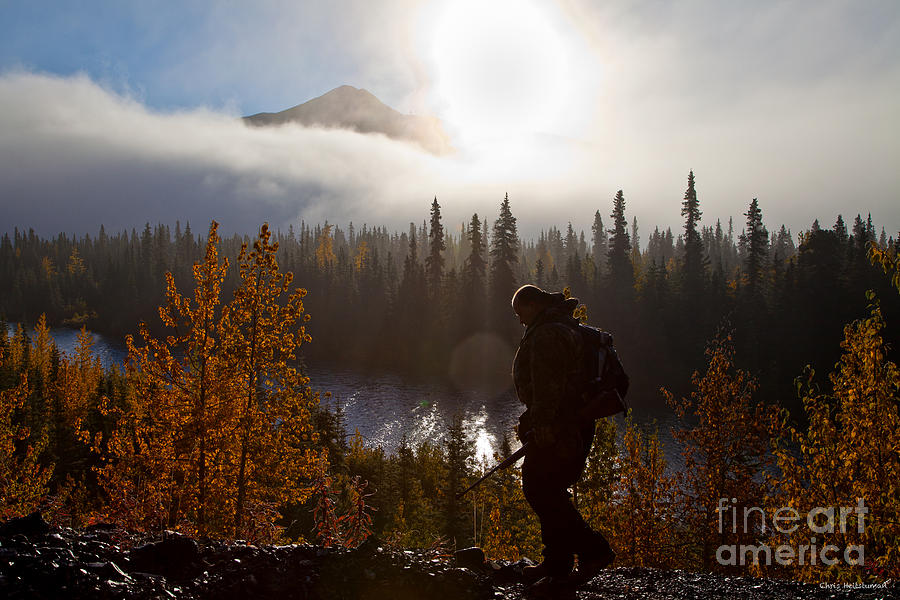 Alaska Photograph - Sunrise Hiker by Chris Heitstuman