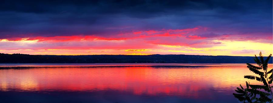 Lake Photograph - Sunrise In Cayuga Lake Ithaca New York Panoramic Photography by Paul Ge