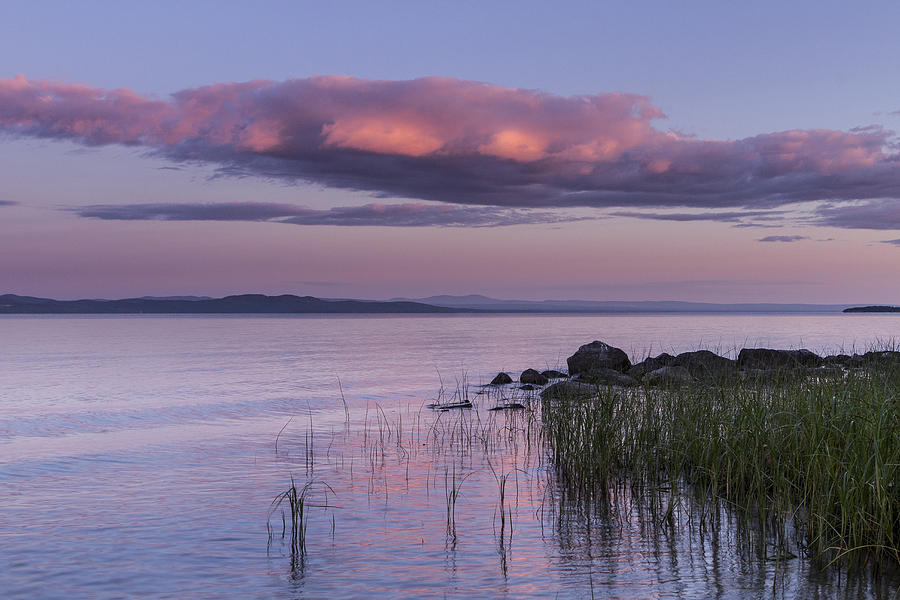 Vermont Photograph - Sunrise Lake Champlain Shore Vermont Clouds by Andy Gimino