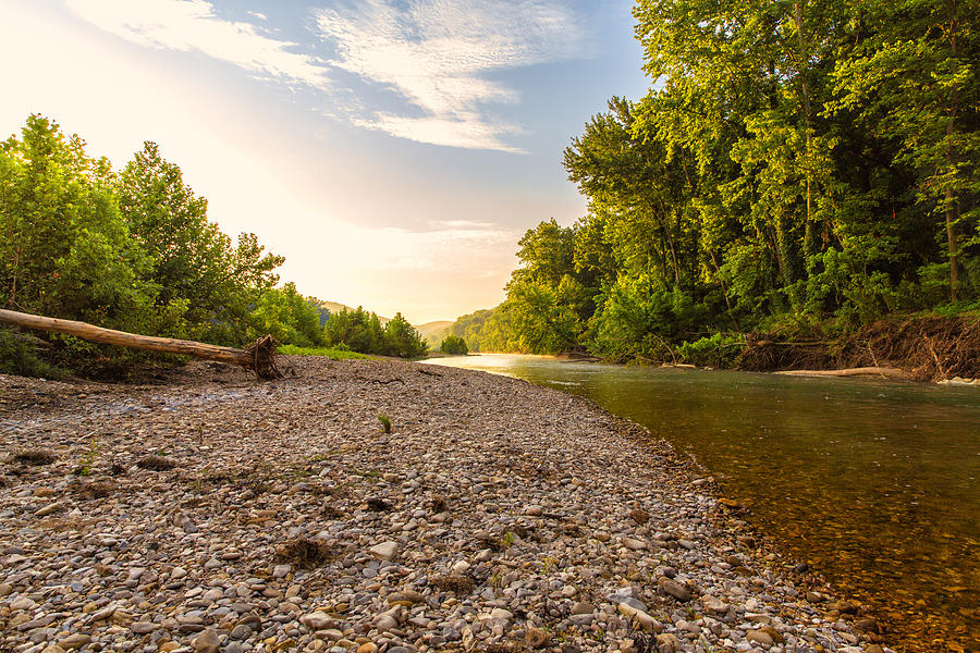 Sunset Photograph - Sunrise Light On Buffalo River by Bill Tiepelman