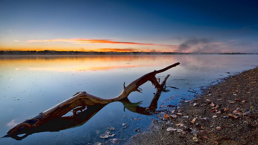 Sunrise Lake Photograph - Sunrise Log Lake by Berkehaus Photography