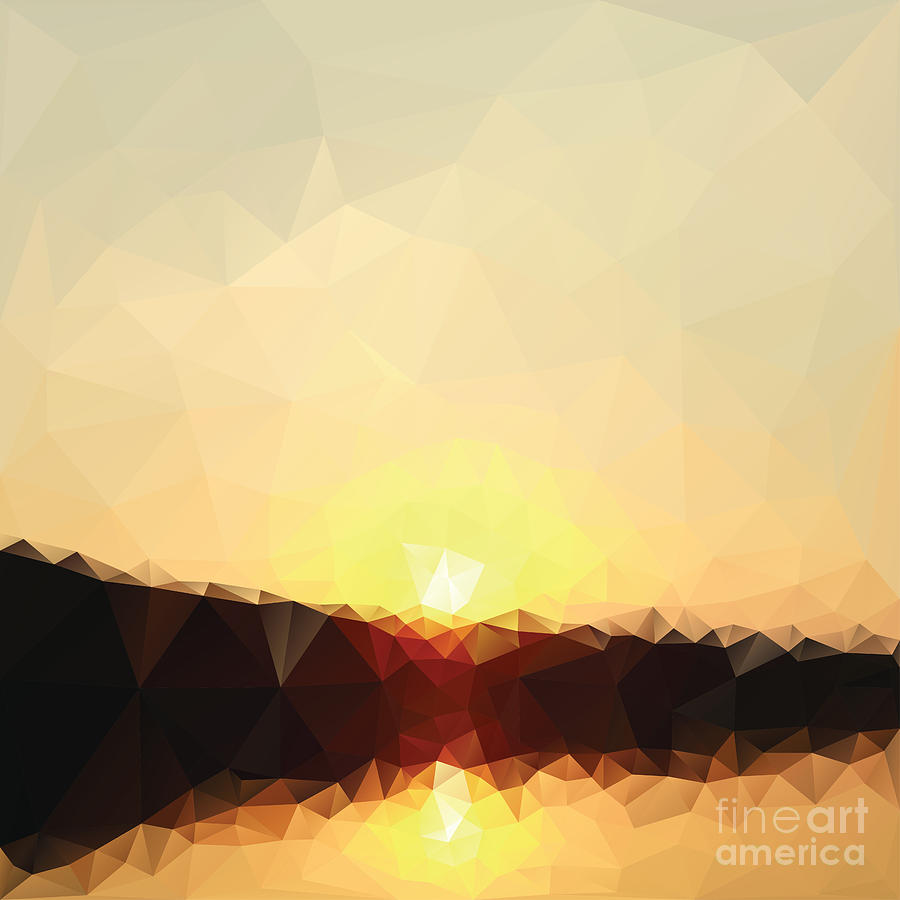 Sunshine Digital Art - Sunrise Low Poly Effect Abstract Vector by Vinko93