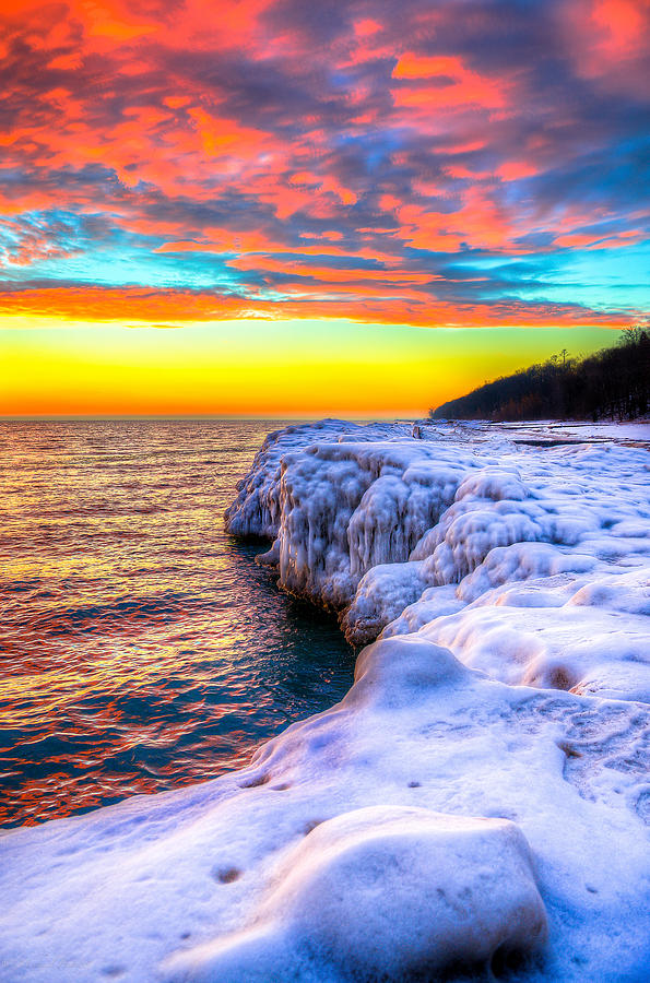 Lake Michigan Photograph - Sunrise North Of Chicago Lake Michigan 1-14-14 by Michael  Bennett