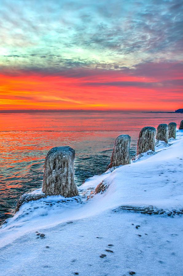 Lake Michigan Photograph - Sunrise North Of Chicago Lake Michigan 1-18-14 by Michael  Bennett