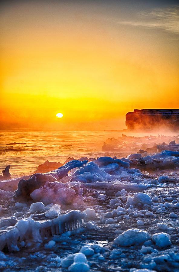 Lake Michigan Photograph - Sunrise North Of Chicago Lake Michigan 1-3-14  by Michael  Bennett