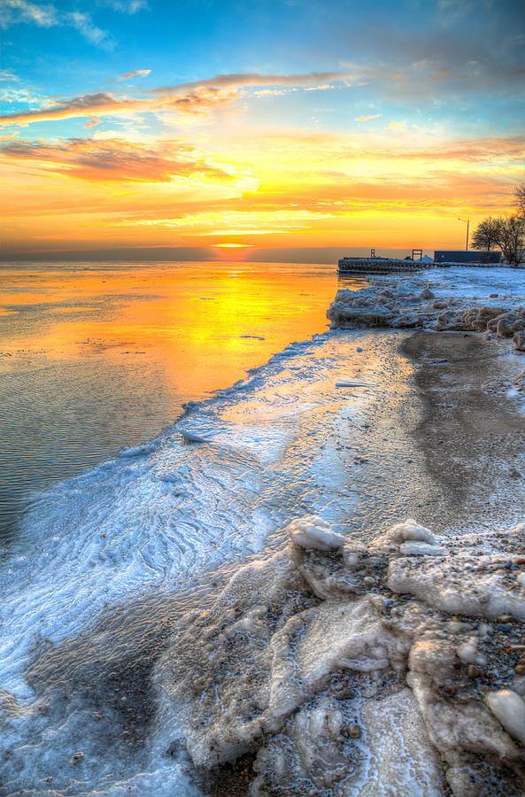 Lake Michigan Photograph - Sunrise North Of Chicago Lake Michigan 1-4-14 001 by Michael  Bennett