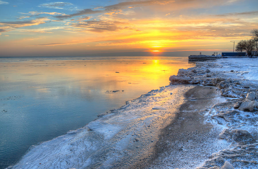 Lake Michigan Photograph - Sunrise North Of Chicago Lake Michigan 1-4-14 003 by Michael  Bennett