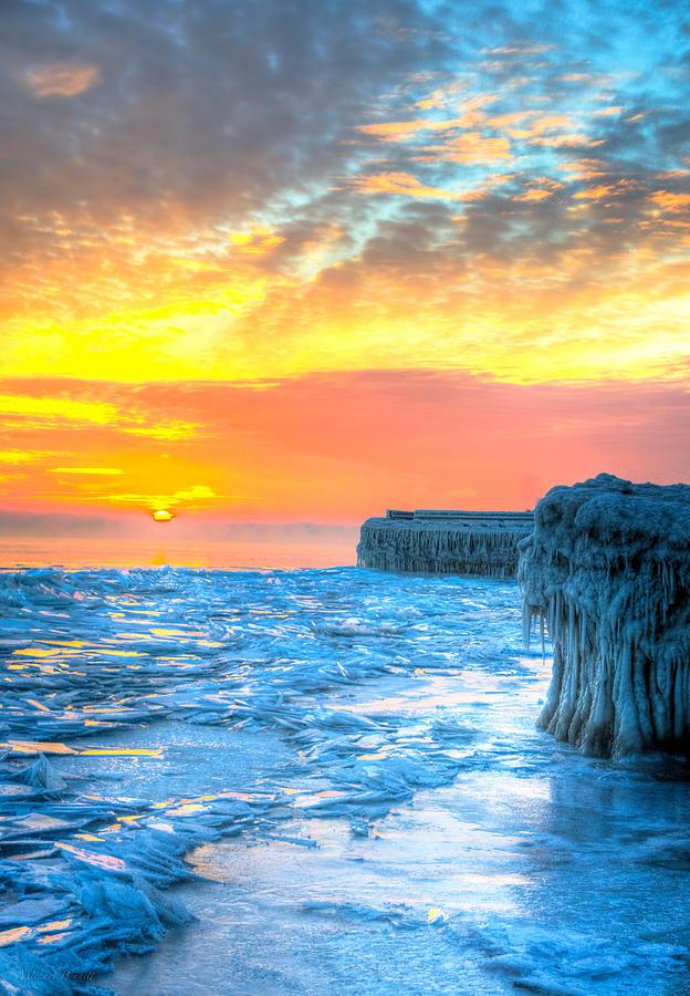 Lake Michigan Photograph - Sunrise North Of Chicago Lake Michigan 1-9-14 001  by Michael  Bennett