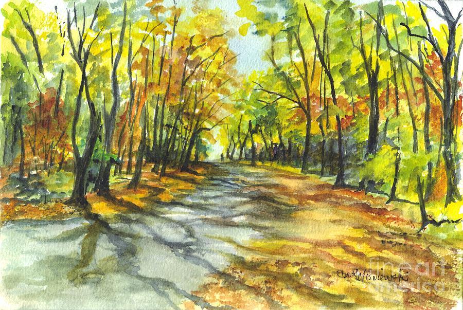 Autumn Painting - Sunrise On A Shady Autumn Lane by Carol Wisniewski