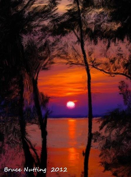 Sunset Painting - Sunrise on an Island by Bruce Nutting