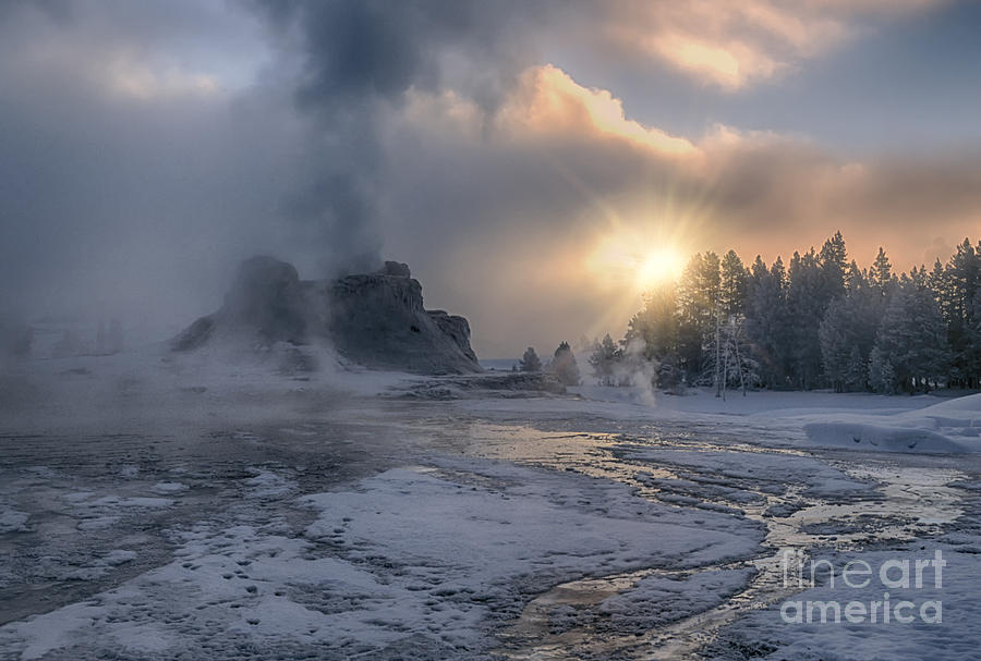 Sunrise;yellowstone;national Park;wyoming;landscape;dawn;castle Geyser;winter;runoff;steam;fog;smoke;clouds;ice;snow;thermals;geysers;features;sandra Bronstein;winterscapes;winterscape;fine Art Photography;frigid;haze;geothermal;landscapes;natural Feature;morning;western United States;out West;iconic;travel;tourism;daybreak;trees;eruption;silica;horizontal;popular Photograph - Sunrise On Castle Geyser - Yellowstone by Sandra Bronstein