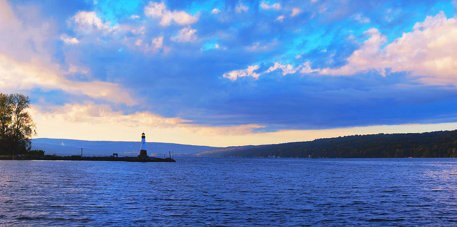 Ithaca Photograph - Sunrise On Cayuga Lake Ithaca New York Panoramic Photography by Paul Ge