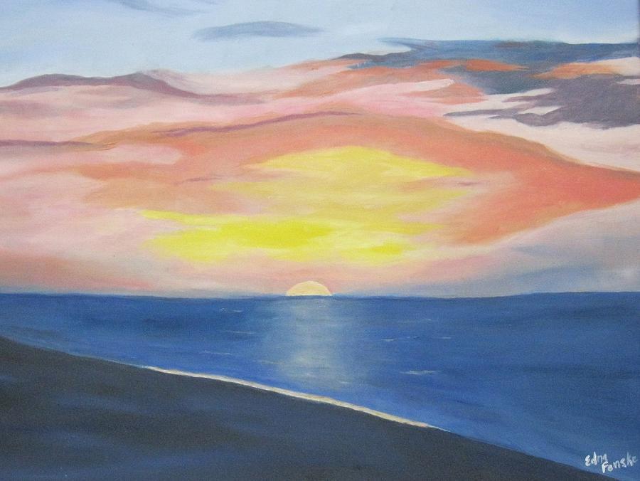 Sunrise On The Atlantic Painting by Edna Fenske