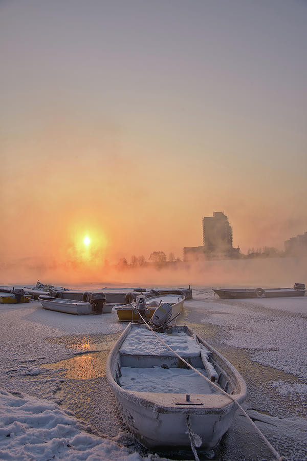 Sunrise On The Frozen River Photograph by Tokism