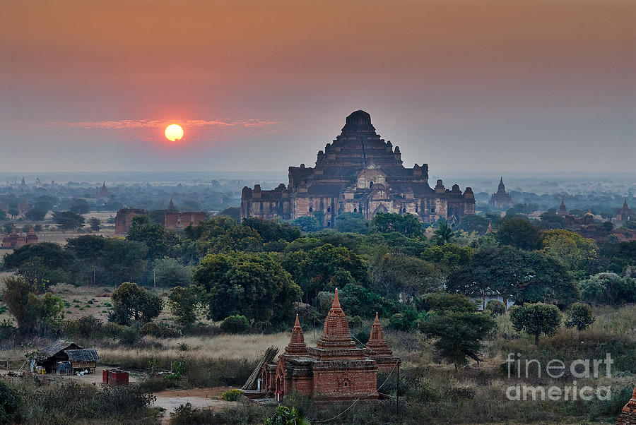 Sunset Photograph - sunrise over Bagan by Juergen Ritterbach