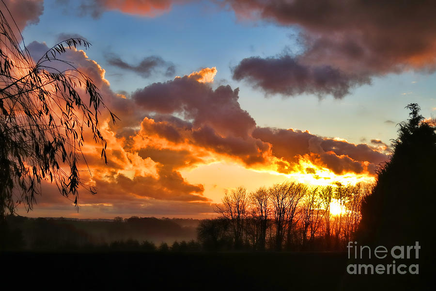 France Photograph - Sunrise Over Countryside by Olivier Le Queinec