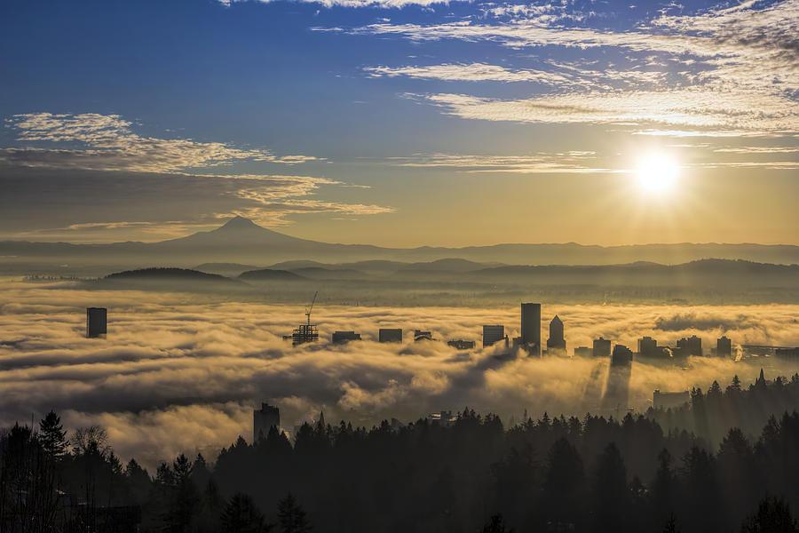Sunrise Photograph - Sunrise Over Foggy Portland by David Gn