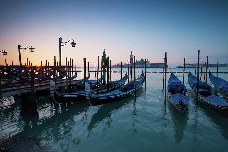 Sunrise Over Gondolas In Front Of San Photograph by Matteo Colombo