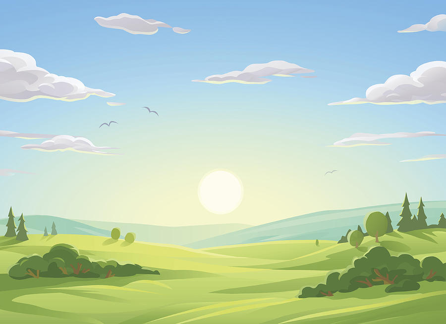 Sunrise Over Green Hills Drawing by Kbeis