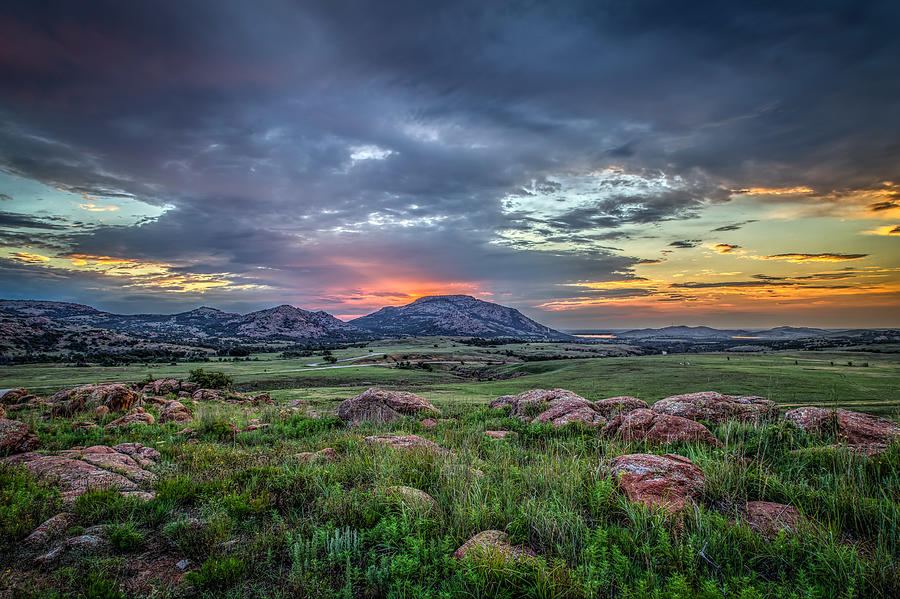 Sunrise over Mt. Scott, Oklahoma, USA Photograph by Russell Chronister