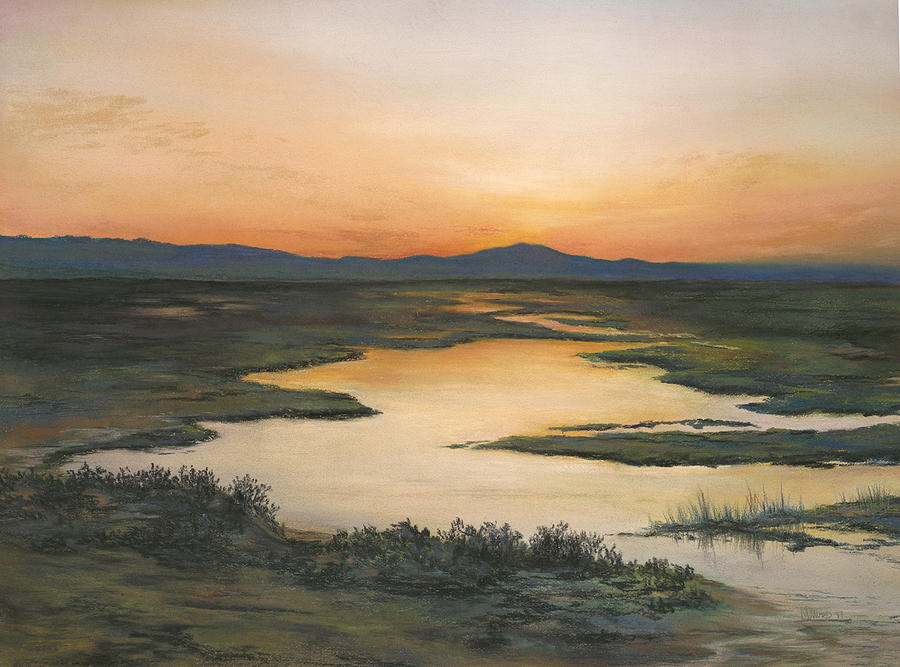 Sunrise Painting - Sunrise Over Oakland Hills by Martha J Davies
