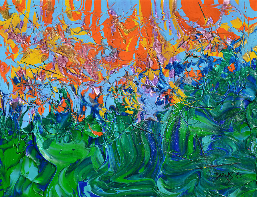 Vibrant Abstract Painting - Sunrise Over Stormy Seas by Donna Blackhall