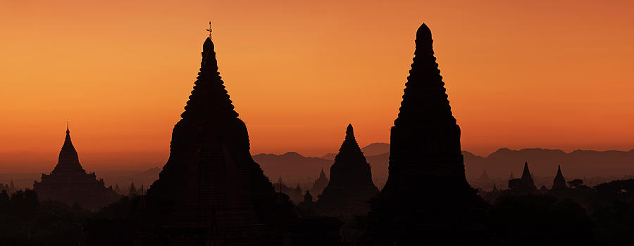 Scenic Photograph - Sunrise Over Temples In Bagan by Hadynyah