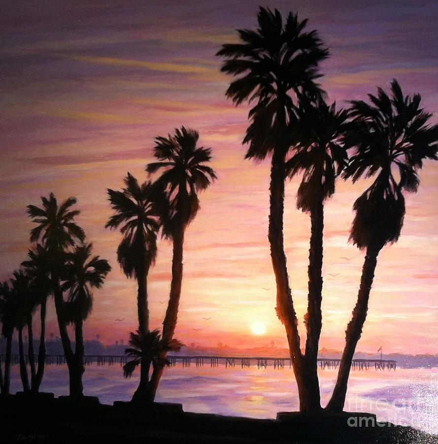 Sunrise Painting - Sunrise Over The Ventura Pier by Tina Obrien