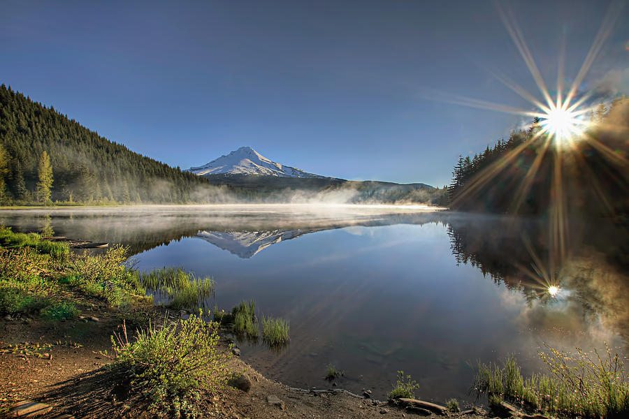 First Photograph - Sunrise over Trillium Lake by David Gn