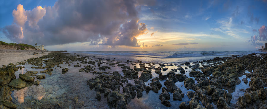 Clouds Photograph - Sunrise Panorama by Debra and Dave Vanderlaan