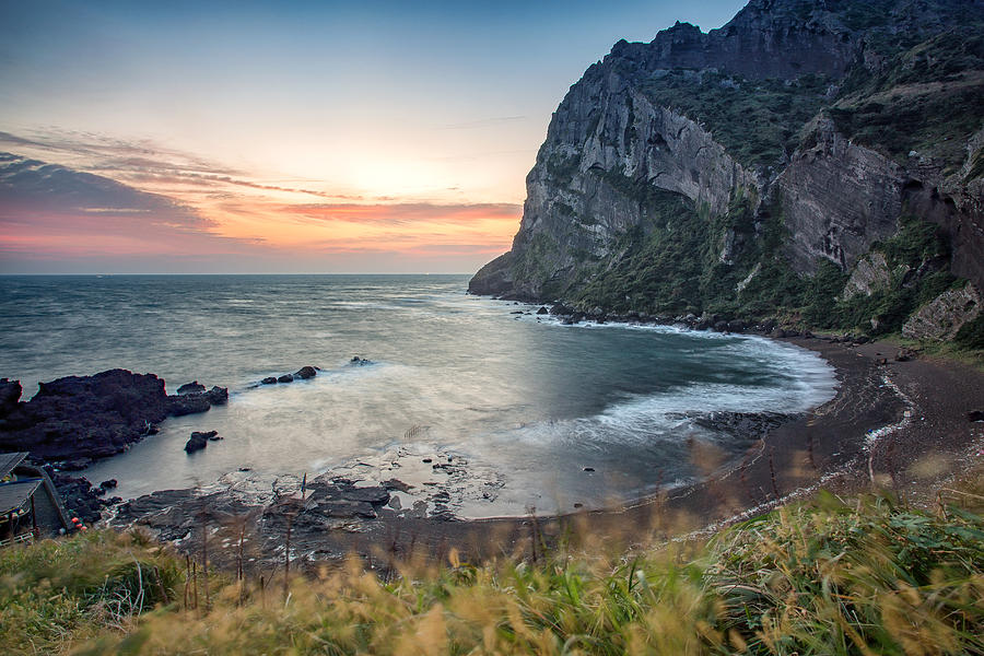 Sunrise Peak at Sunrise, Jeju Island Photograph by Eric Hevesy