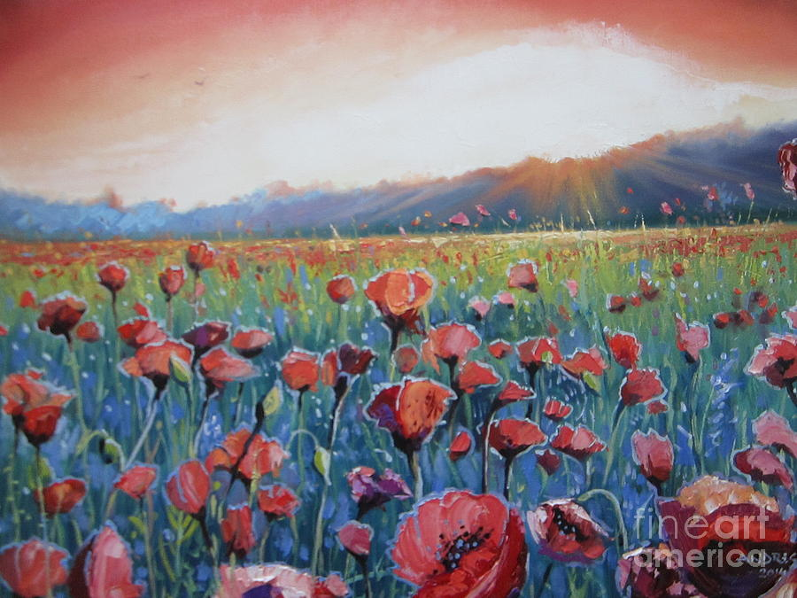 Poppies Painting - Sunrise Poppies by Andrei Attila Mezei