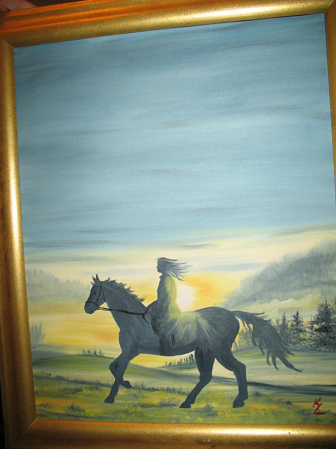 Landscape Horse Painting - Sunrise Ride by Kathy Livermore