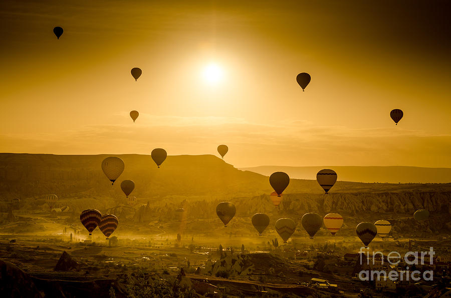 Asia Photograph - Sunrise takeoff - Cappadocia Turkey by OUAP Photography