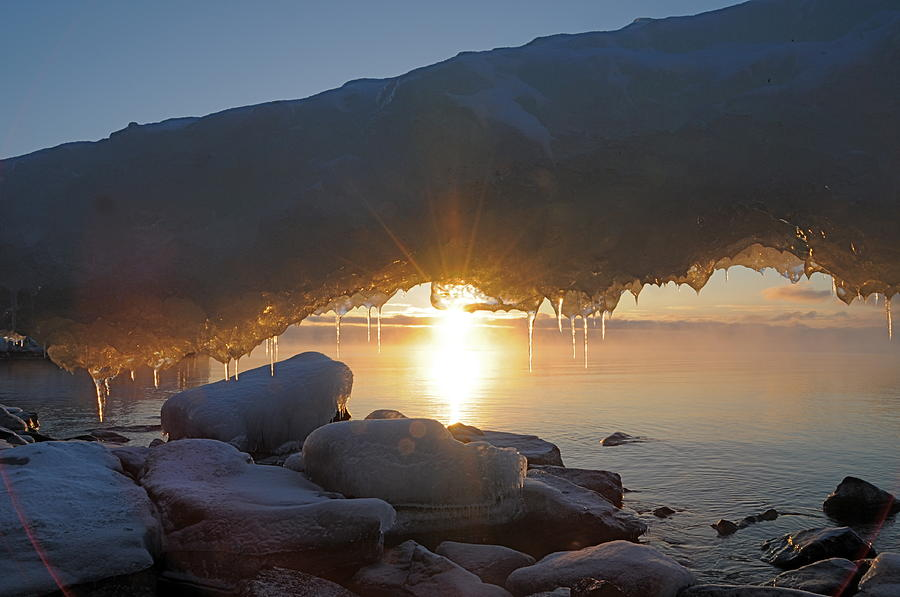 Lake Superior Photograph - Sunrise Through The Arch by Sandra Updyke
