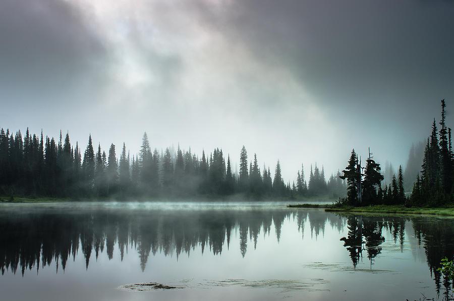 Mt. Rainier National Park Photograph - Sunrise Through The Mist by Brian Xavier
