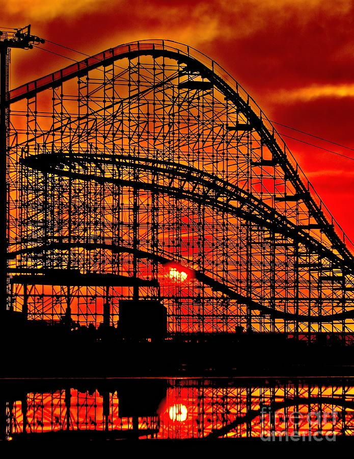 Coaster Photograph - Sunrise Thru The Coaster by Nick Zelinsky