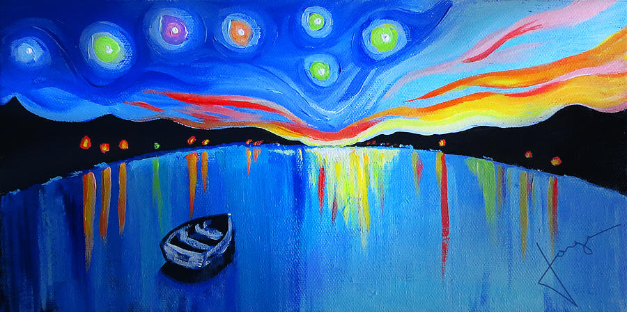 Night Ocean Painting - Sunrise At The Lake - Van Gogh Style by Jorge Carrillo