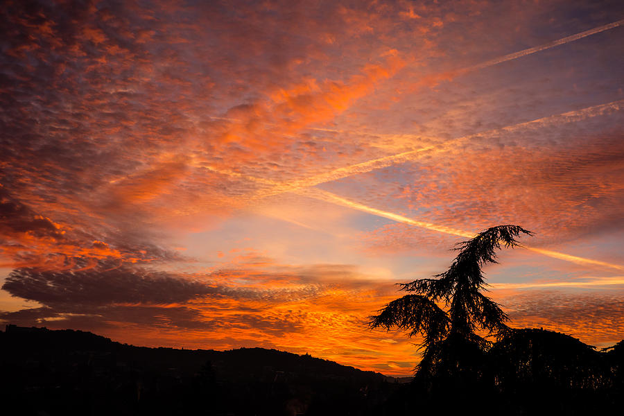 Sunrise Photograph - Sunrise With Orange And Red Clouds In The Sky by Matthias Hauser
